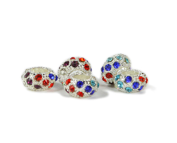 "5x11mm Pack Of 6 Red/Blue Multi Color Cubic Zirconia ""Cz"" Spacer Beads"