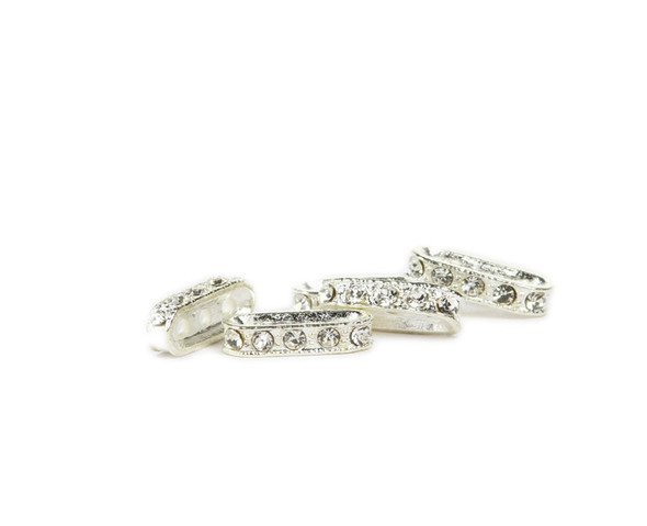 "pack of 10  white  silver plated brass  18x4mm Cubic Zirconia ""CZ"" oval spacer beads"