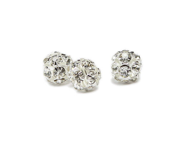 "10mm  pack of 10  white  silver plated brass fancy Cubic Zirconia ""CZ"" spacer beads"