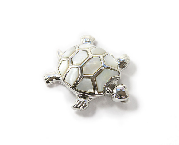 Approx. 40x45mm Decorated Mother Of Pearl Shell Turtle Pendant