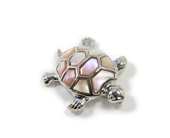 Approx. 40x45mm Decorated Pink Shell Turtle Pendant
