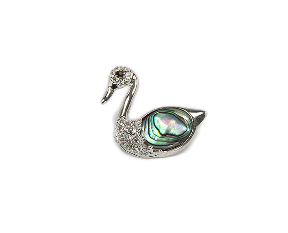 approx. 30x30mm Abalone shell swan brooch with CZ stones