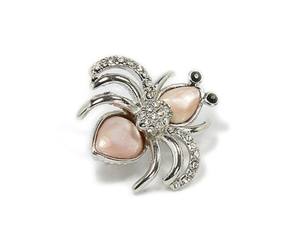 approx. 25x30mm Pink shell spider brooch with CZ stones