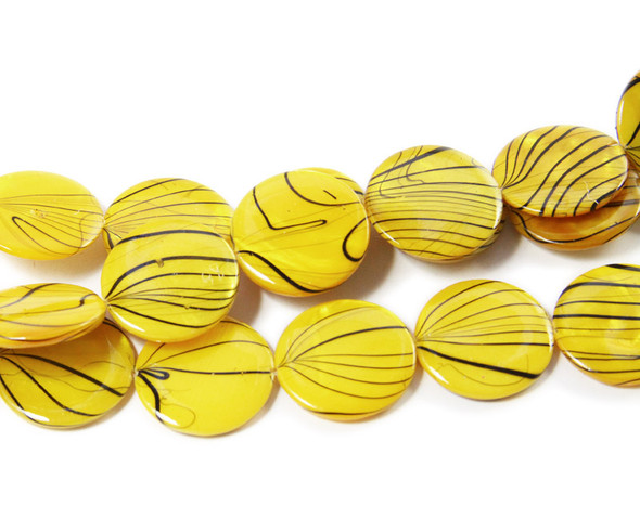 19mm  yellow Mother of pearl hand-painted puffed coin beads