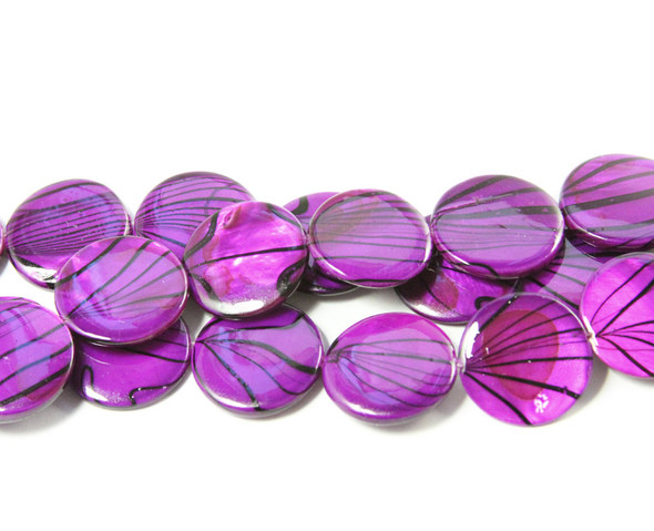 19mm  purple Mother of pearl hand-painted puffed coin beads