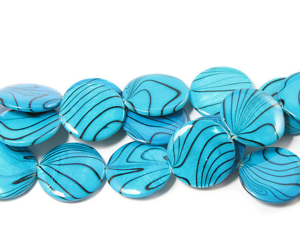 19mm  sea blue Mother of pearl hand-painted puffed coin beads