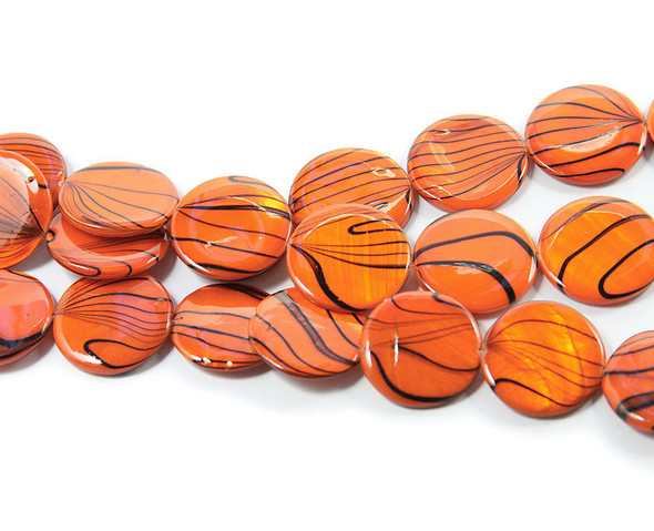 19mm  orange Mother of pearl hand-painted puffed coin beads