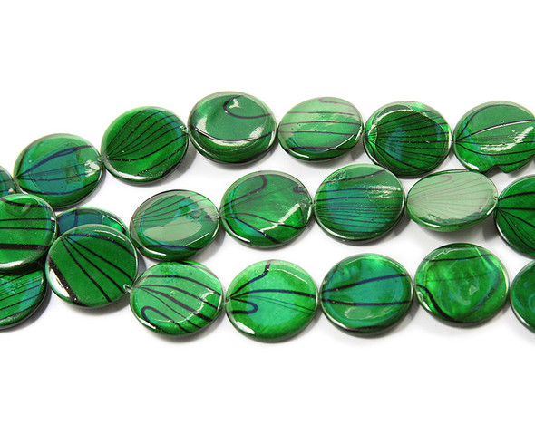 19mm  green Mother of pearl hand-painted puffed coin beads