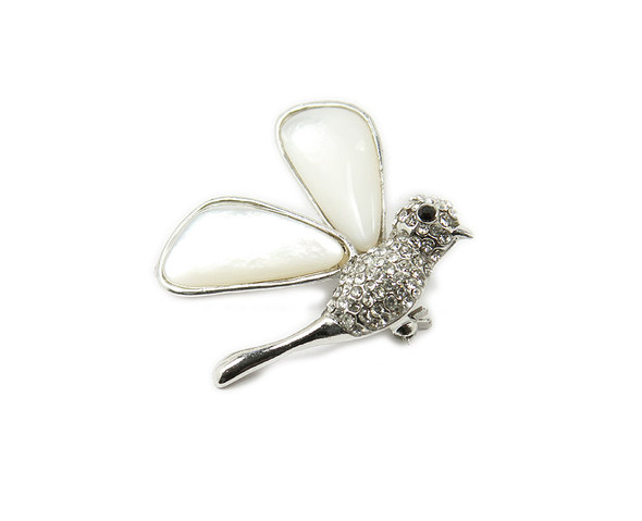 35x35mm Mother Of Pearl Shell Hummingbird Brooch With Cz Stones