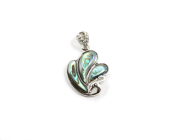 Approx. 20x25mm Abalone Shell Peacock Silver Pendant