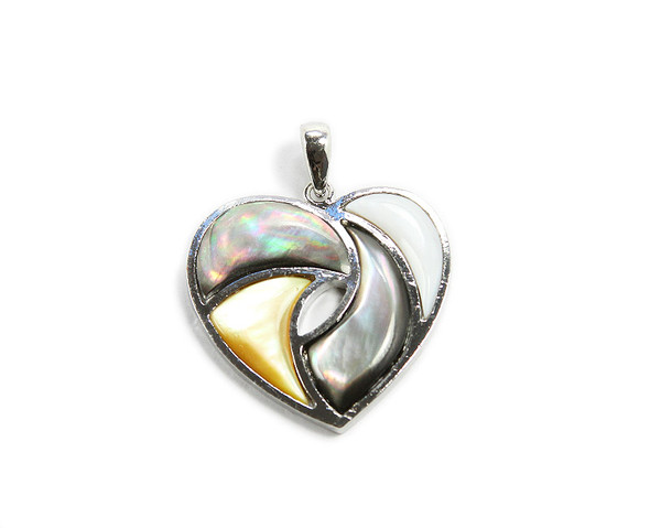 Approx. 35x35mm Multi Shell Heart Pendant