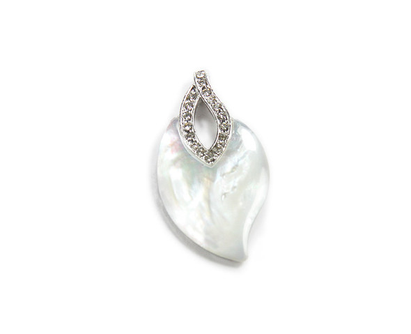 Approx. 25x45mm Mother Of Pearl Shell Shell Leaf Pendant With Cz Stones