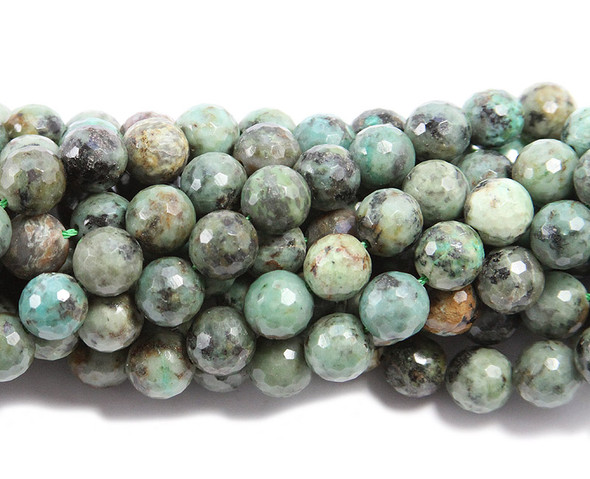 10mm  15.5 inches African turquoise faceted round beads