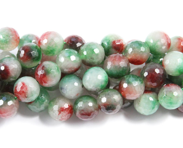 Dyed Jade Faceted Round Beads 12mm 15.5 Inches Red/Green Multicolor Jade Faceted Round Beads