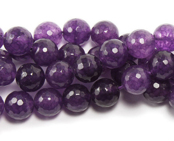 12mm Purple Dyed Jade Faceted Round Beads