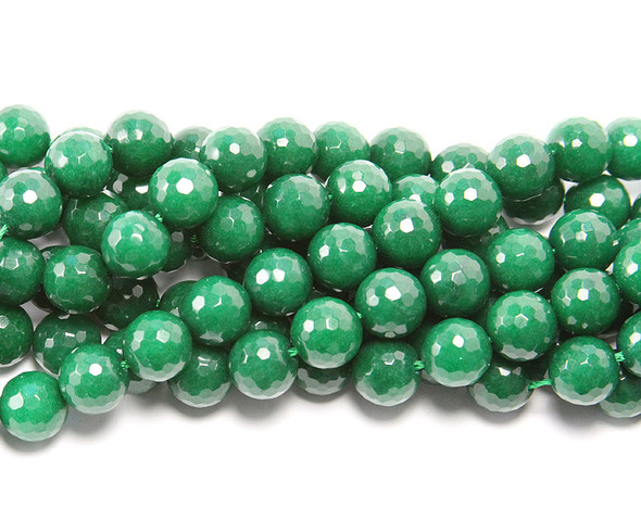 6mm  Emerald green jade  faceted round beads