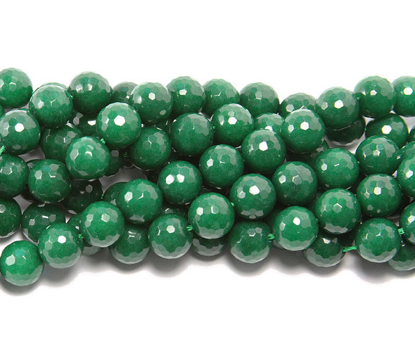 10mm  15.5 inches Emerald green jade  faceted round beads