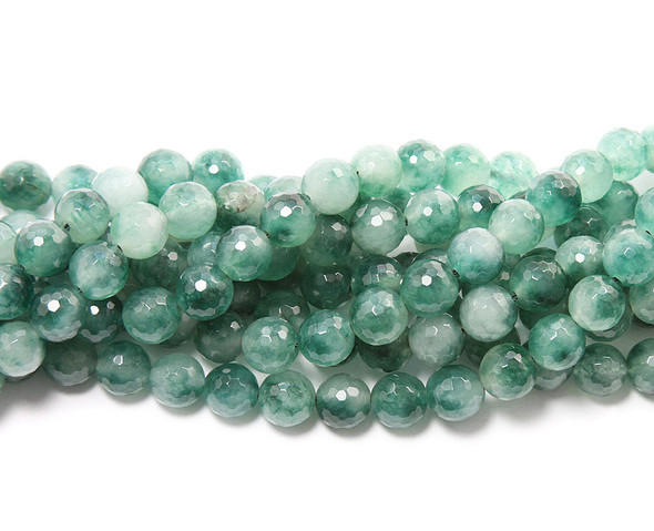 10mm  white and green Green  jade faceted round beads