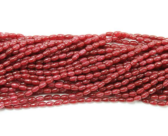 3x6mm Ruby jade  small barrel beads