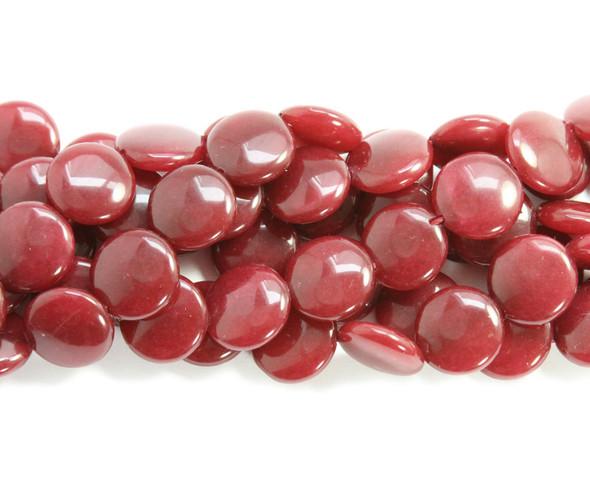 16mm Ruby jade  puffed coin beads