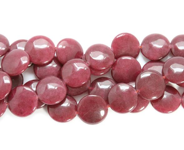 20mm Ruby jade  puffed coin beads
