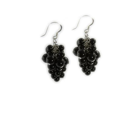2 Inches Long Silver Hooks Black Onyx Grape-Shaped Earrings