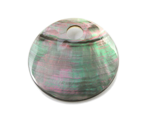 60mm Black Sea Shell Large Round Pendant