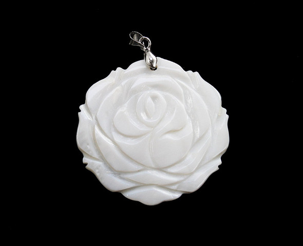45mm Mother Of Pearl Shell Carved Flower Pendant