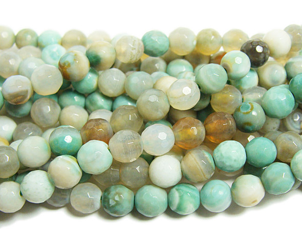 6mm  Striped turquoise agate faceted round beads
