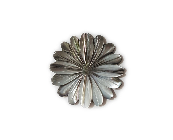 40mm Black Sea Shell Multi Petal Flower Pendant
