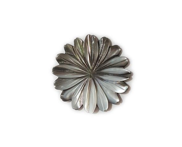 40mm Black sea shell multi petal flower pendant