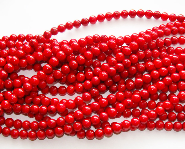 6mm Red Bamboo Coral Grade A Round Beads