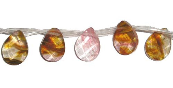 8x12mm Fire cherry quartz faceted teardrop beads