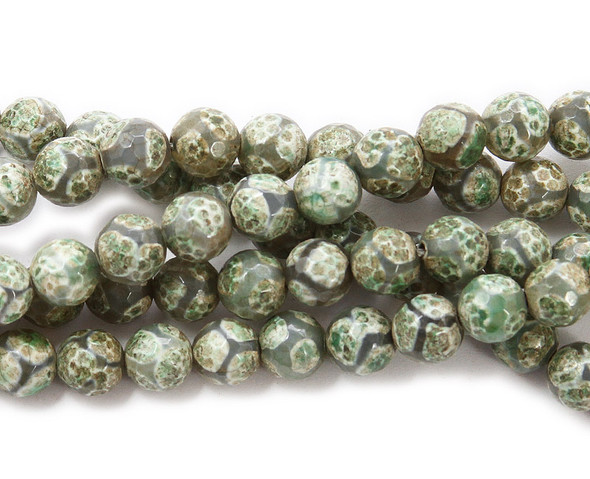 8mm Green soccer-style agate faceted round beads