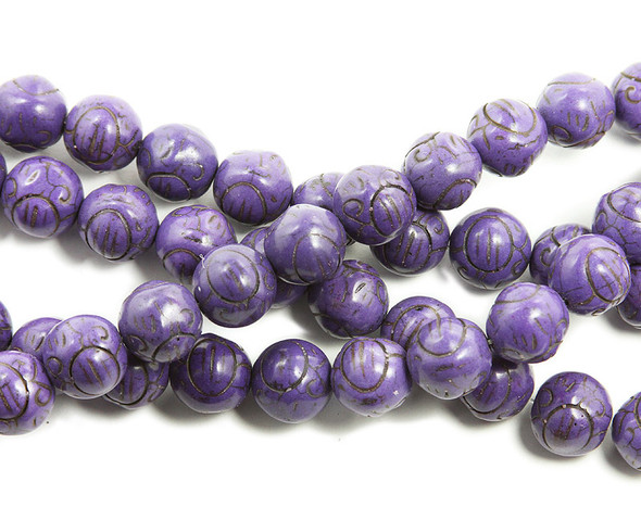 14mm Purple howlite carved round beads