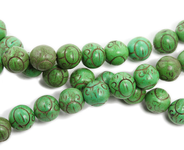14mm Green Howlite Carved Round Beads