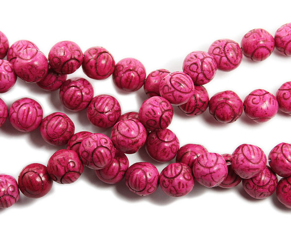 14mm Deep pink howlite carved round beads