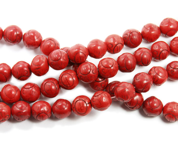 14mm Red Howlite Carved Round Beads