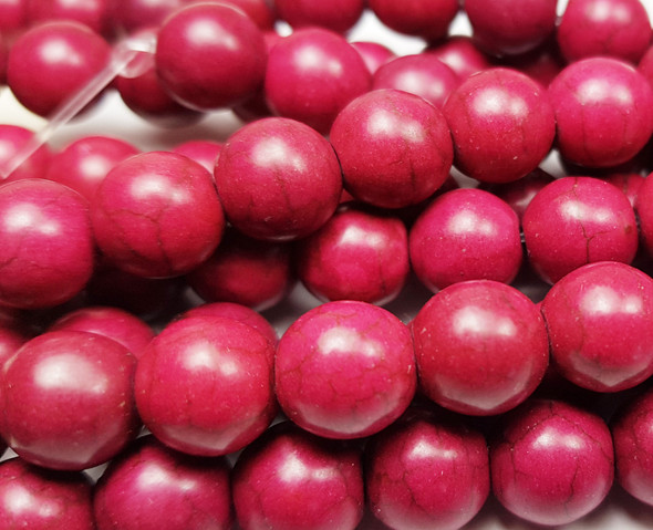 10mm 15.5 inch strand Fuschia Red howlite round beads