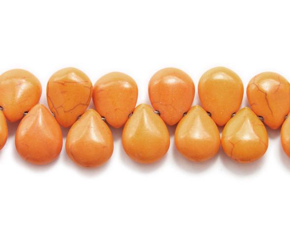14x18mm  8 inches Orange howlite puffed teardrop beads