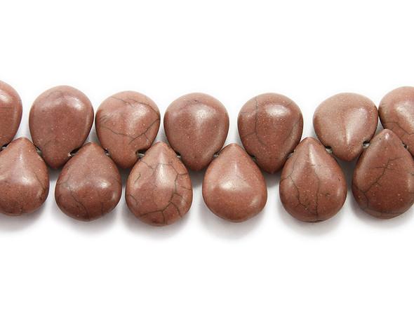 14x18mm  8 inches Brown howlite puffed teardrop beads