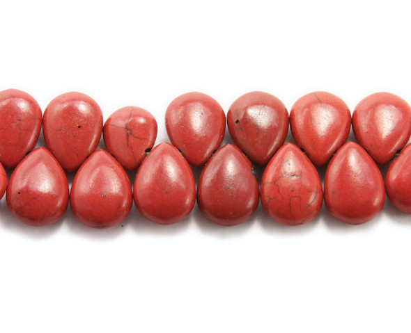 14x18mm 8 Inches Red Howlite Puffed Teardrop Beads