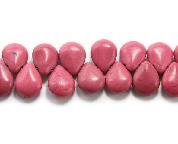 14x18mm  8 inches Deep pink howlite puffed teardrop beads