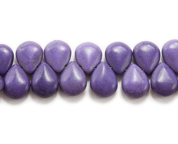 14x18mm  8 inches Purple howlite puffed teardrop beads