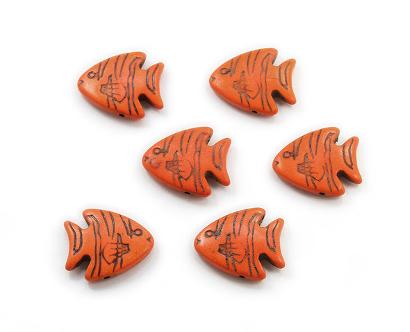 23x26 Pack Of 6 Orange Howlite Carved Fish Beads