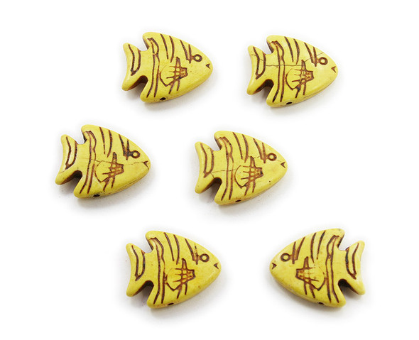 23x26 Pack Of 6 Yellow Howlite Carved Fish Beads