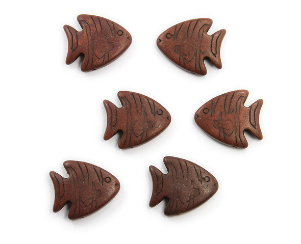 23x26 Pack Of 6 Brown Howlite Carved Fish Beads