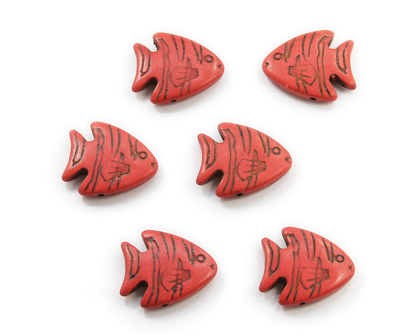 23x26 Pack Of 6 Red Howlite Carved Fish Beads