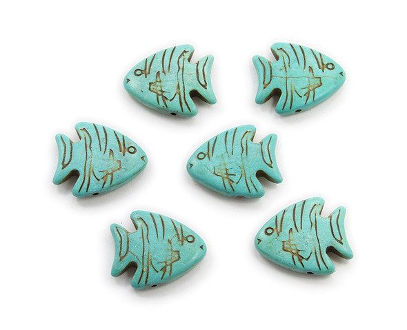 23x26 Pack Of 6 Turquoise Howlite Carved Fish Beads
