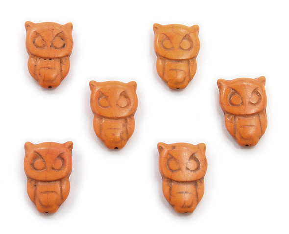 20x30 Pack Of 6 Orange Howlite Carved Owl Beads